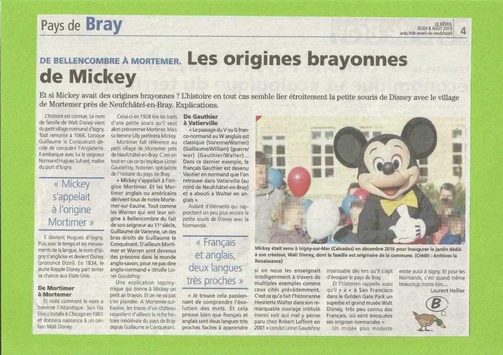 """Le réveil """"Les origines brayonnes de Mickey"""" - 8 Aout 2019"""